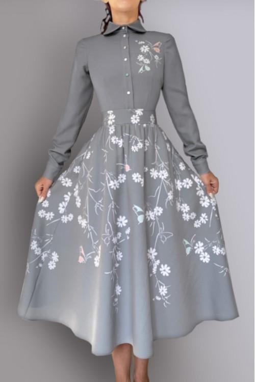 Платье Алевтина ( Серое лето)