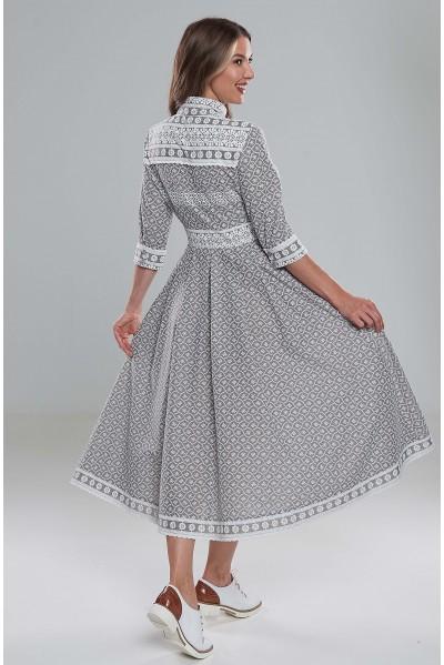 Платье Ангелина (Шитье голубое/серое)