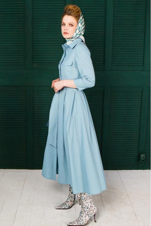 Платье Антонелла из рами (крапивы) голубое