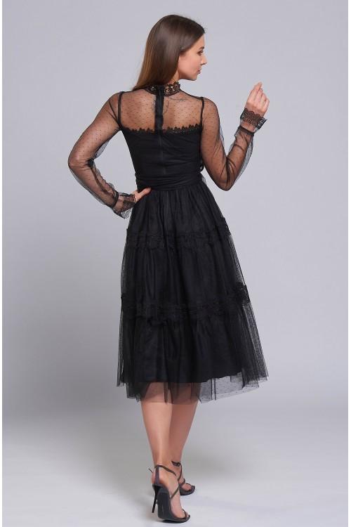 Платье Анжела ( Чёрное,миди)