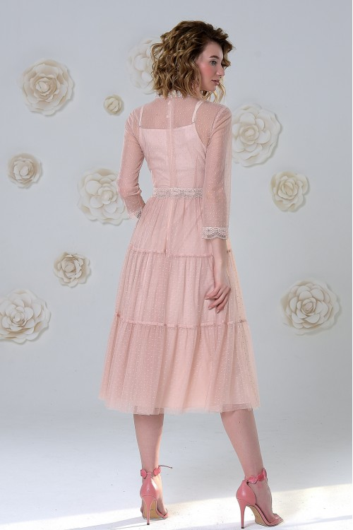 Платье Анжелика 2 из нежного фатина в мелкую точку розовое