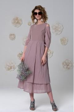Платье-передник Деми из варёного хлопка и вуали цвета какао