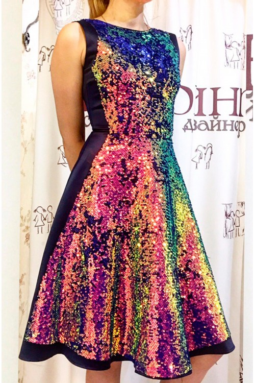 Платье Диско (Хамелеон, черный)
