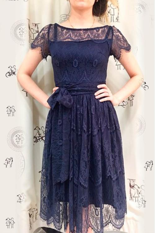 Платье Джульетта (Молочный, синий)