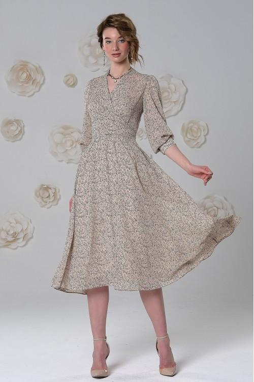 Платье Эмма из воздушного шифона с принтом бежевое