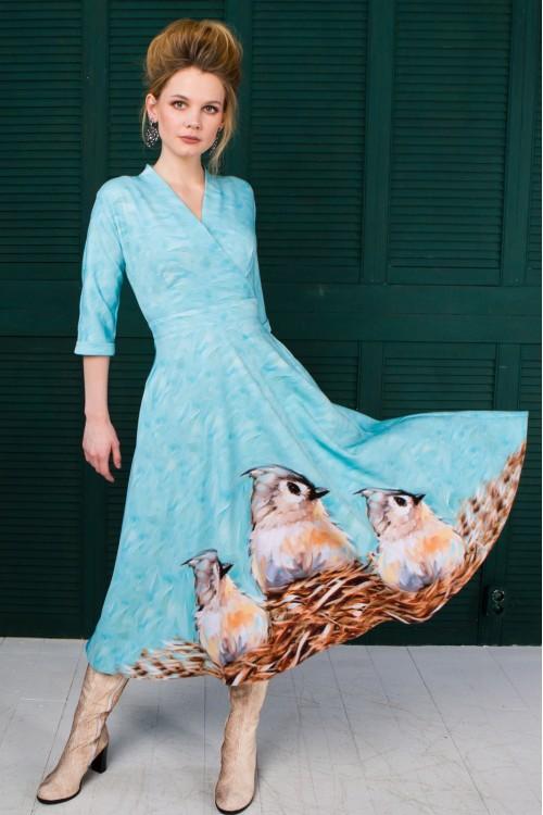 Платье Фаина (Птицы) из вискозы