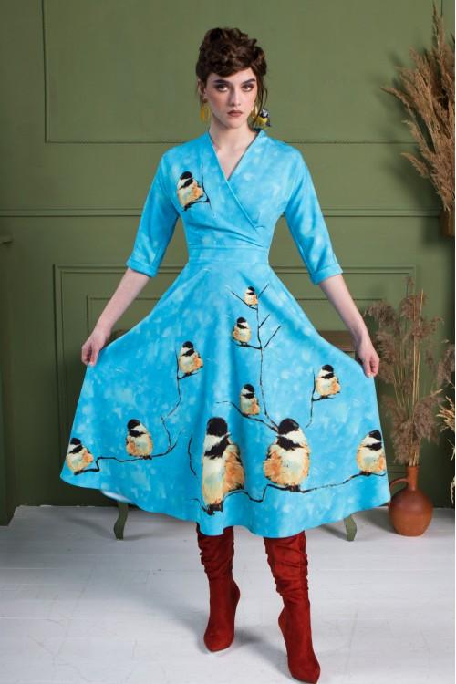 Платье Фаина (Снегири) из вискозы