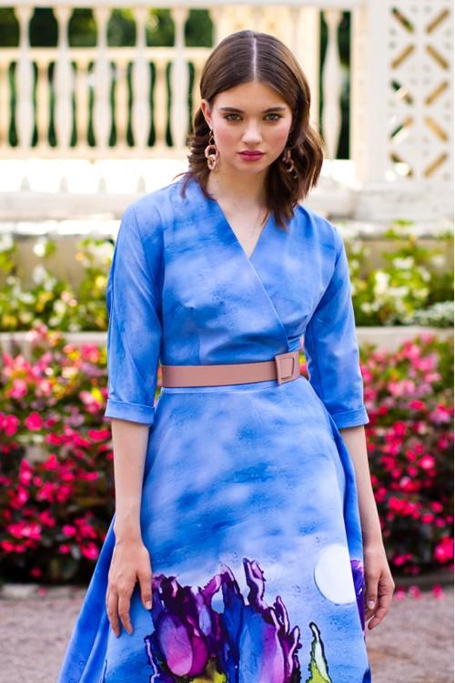 Платье Фаина (Акварельные цветы) из вискозы