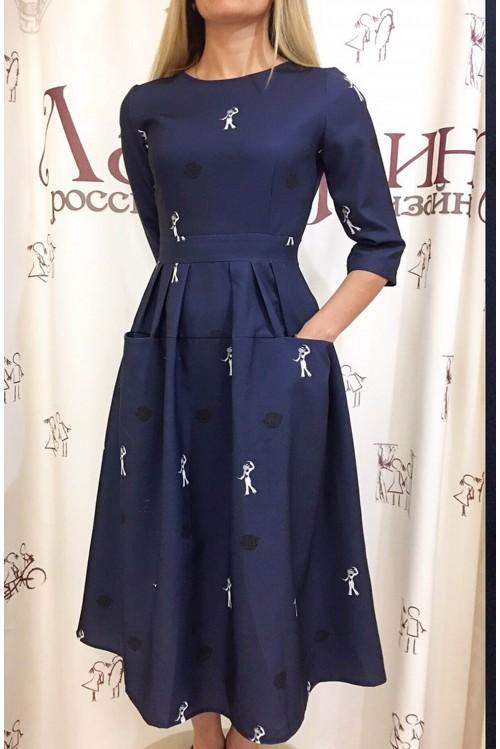 Платье Франсуаза (Пьеро, синий)