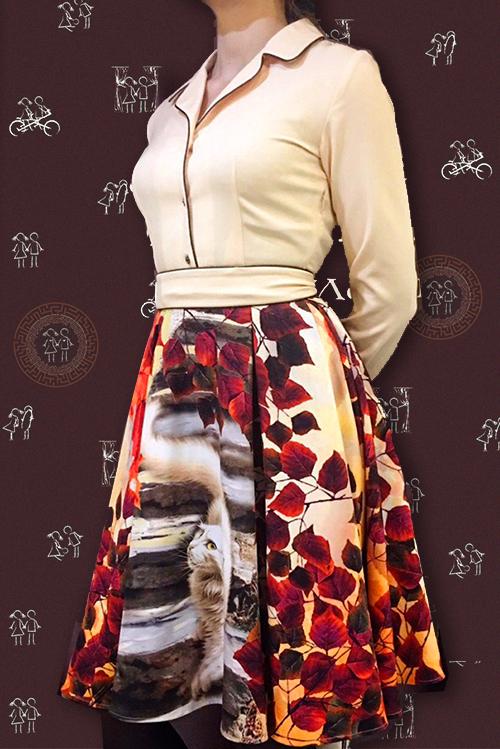 Платье Хлоя (Осенний белый кот), мини