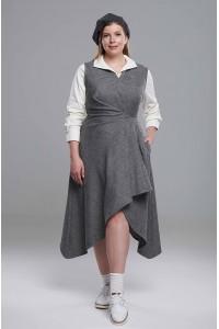 Платье-сарафан двойка Художница PS на запах серый меланж