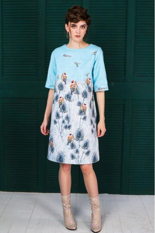 Платье Кристина (Птицы на репейнике) из тёплой ткани