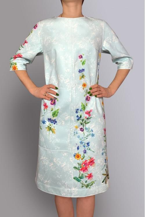 Платье Кристина (Цветы) из тёплой ткани