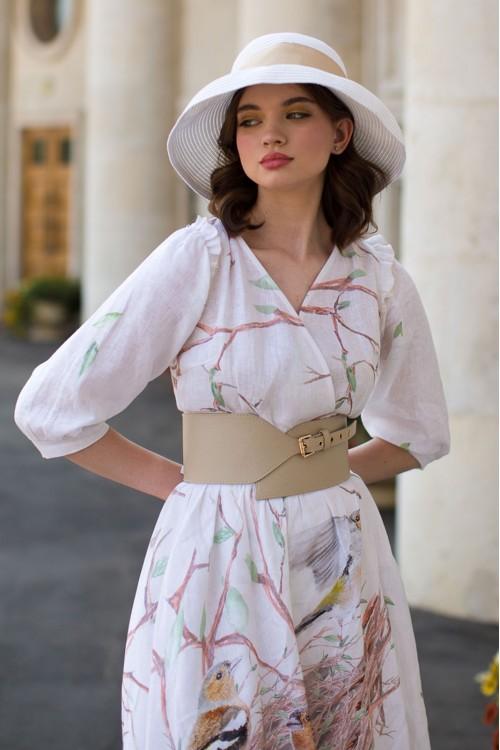 Платье Лера (Гнездо) из льна кремовое