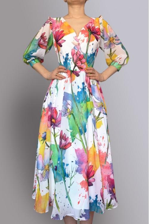 Платье Лера из нежнейшего шифона цветное