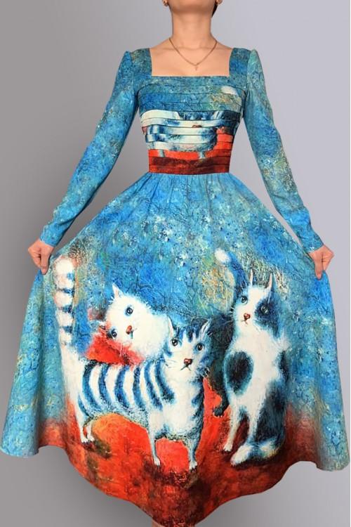 Платье Лавиния (Три кошки) из вискозы с вырезом каре
