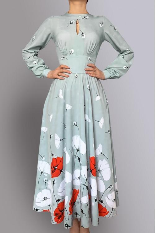 Платье Людмила (Маки) из нежной струящейся тонкой вискозы