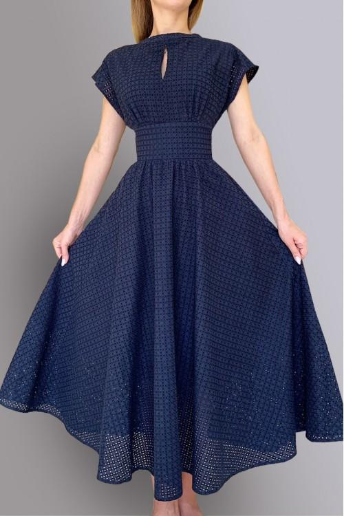 Платье Людмила 2 (гипюр, синее)