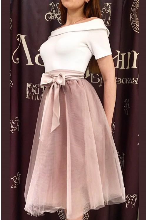 Платье Моника (бежево-белое)