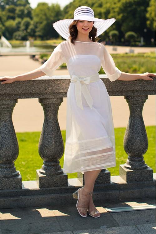 Платье Париж из хлопка и вискозы белое