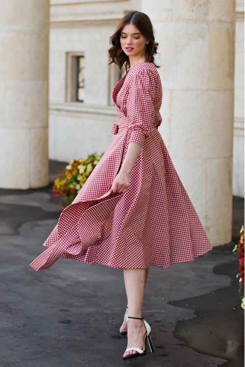 Платье Полетт из хлопка в тёмно-красную клетку