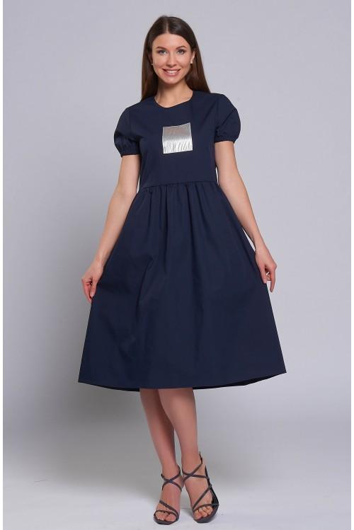Платье Полина (Синее, хлопок)