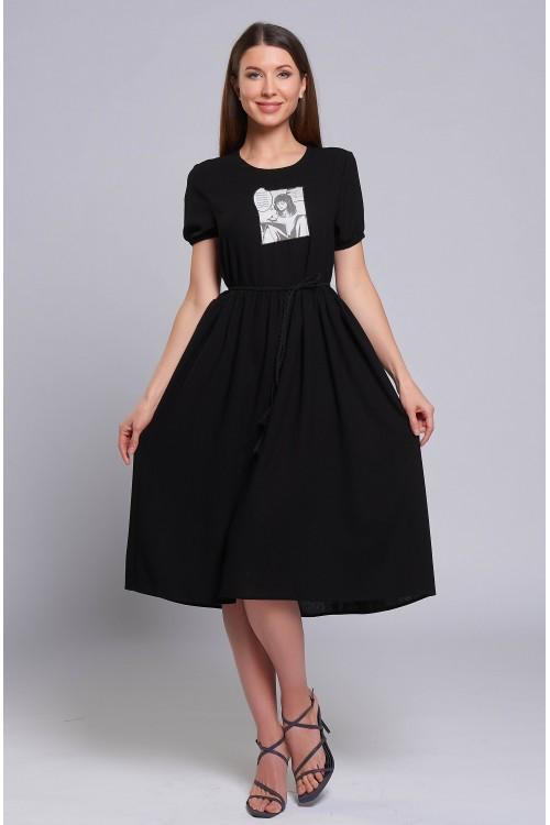Платье Полина (Черное, вискоза)