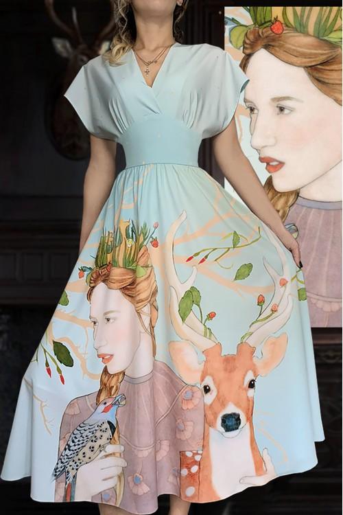 Платье Романтика (Девушка и Олень)