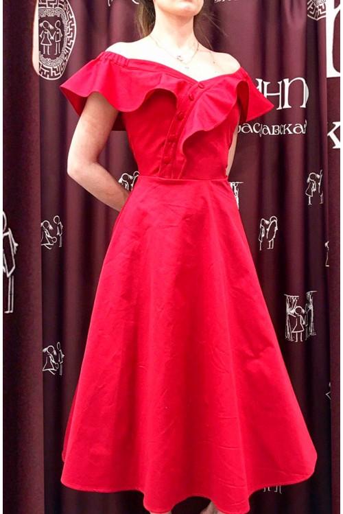 Платье Ромашка (красный)