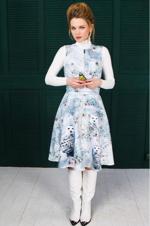 Сарафан Роза (Совы) из тёплой ткани
