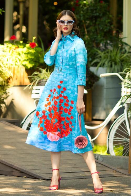 Платье Роза (Маки) из вискозы