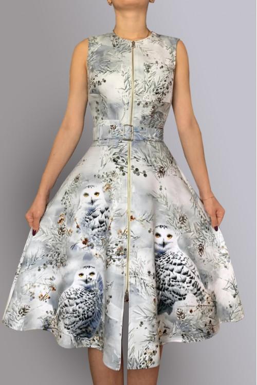 Платье Роза (Совы) из пальтовой ткани