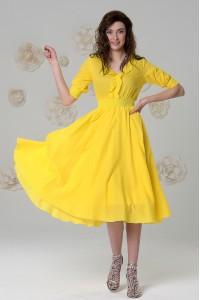 Платье Снежана из воздушной вуали холодно-голубое / лимонное
