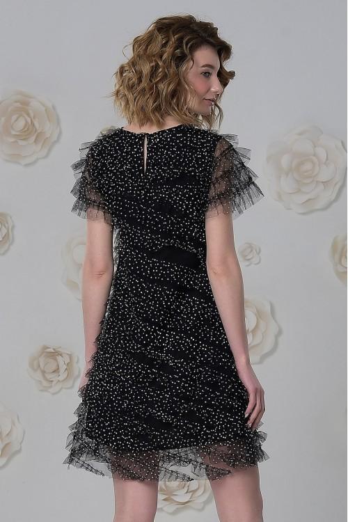 Платье Софья из фатина в крапинку чёрное