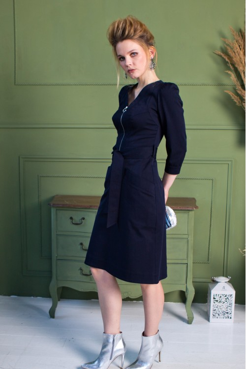 Платье Теми из хлопка тёмно-синее