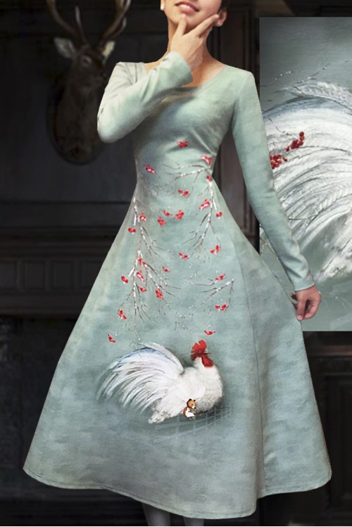 Платье Терри ( Петушок и мишка)