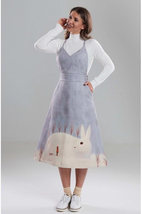 Сарафан Тропиканка (Большой Белый заяц) из тёплой ткани