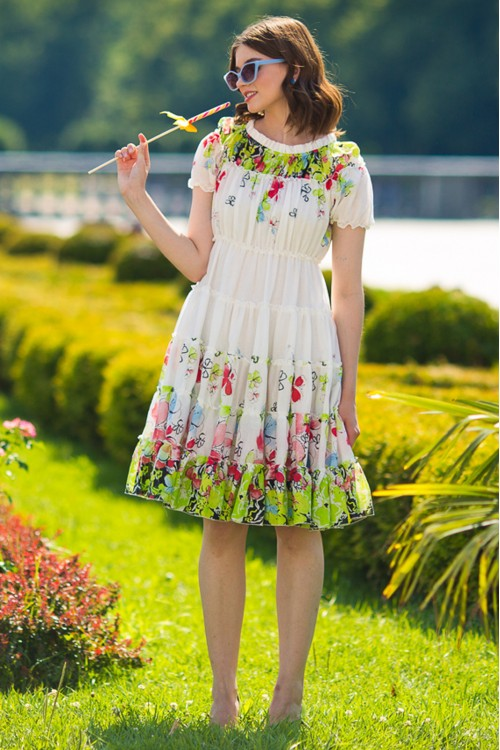 Платье Весна многоярусное из хлопка цветное