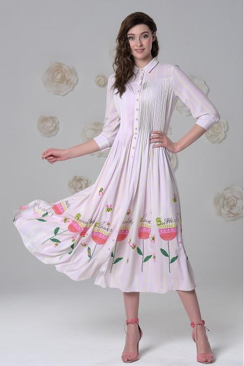 Платье Власта (Нежность) из нежной тонкой вискозы холодно-розовое
