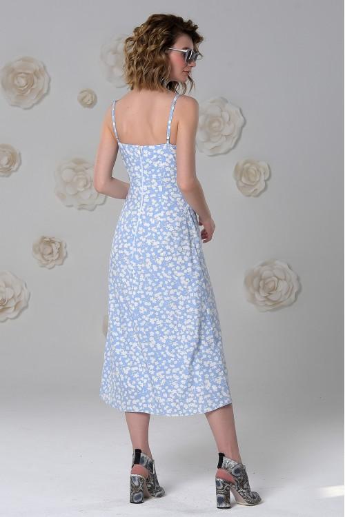 Платье Яна из нежной вискозы голубое с принтом