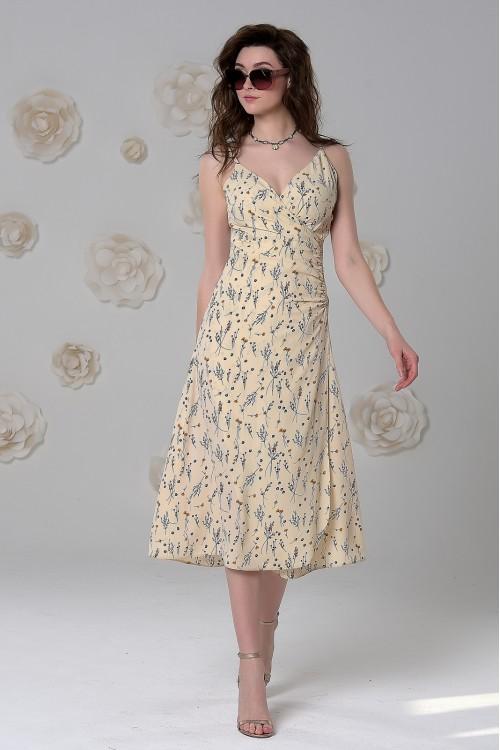 Платье Яна из нежной вискозы бежевое с принятом веточки