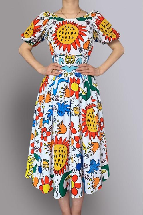 Платье Городские фонарики (Оливки / Подсолнухи) из хлопка