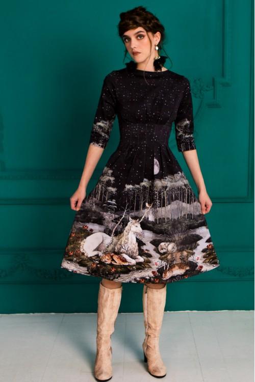 Платье Гретта (Единорог) из габардина (хлопок 100%)