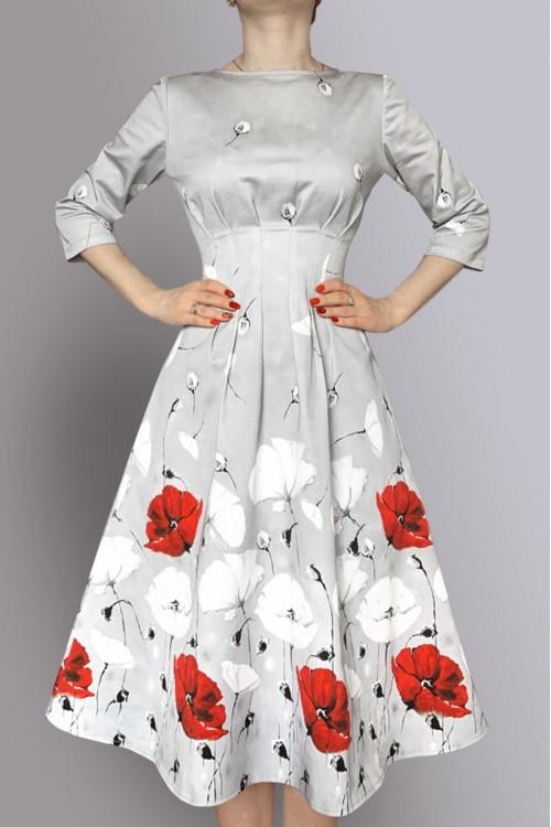 Платье Гретта (Маки) из габардина (хлопок 100%)