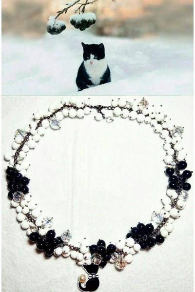 Колье Рябина черноплодная в снегу