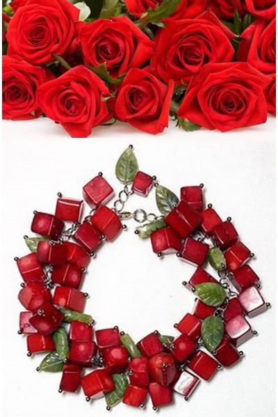 Браслет  Красная роза