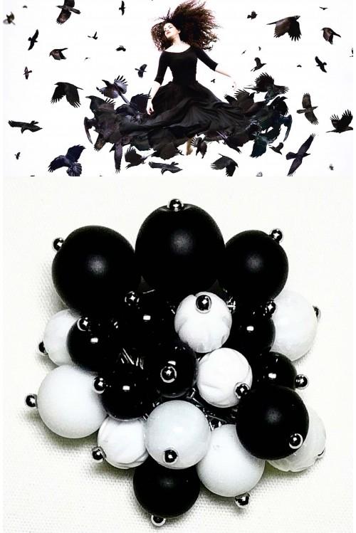 Брошь-игла Чёрные птицы