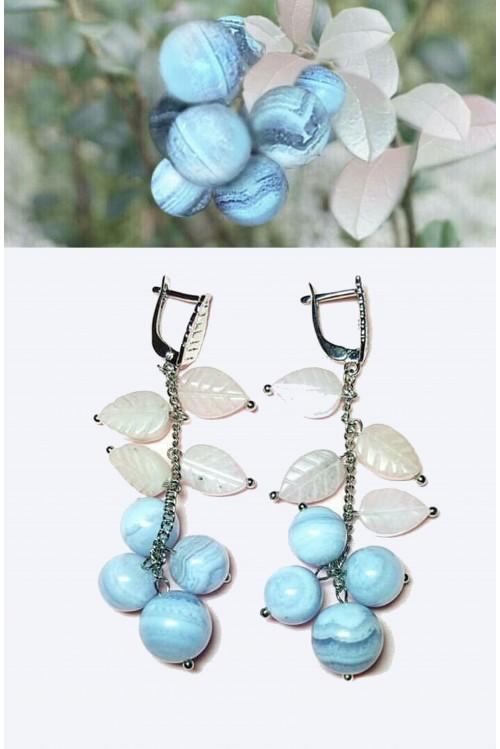 Серьги Брусника голубая
