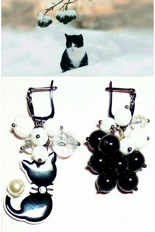 Серьги Рябина черноплодная в снегу