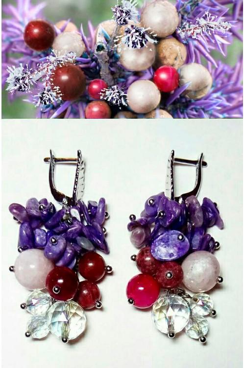 Серьги Фиолетовая ель